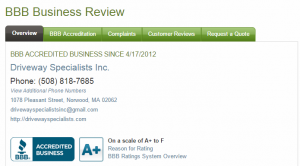 Driveway Specialists, Inc. A+ BBB Rating