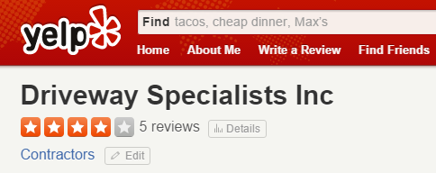 Driveway Specialists, Inc. Yelp Review