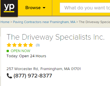 Driveway Specialists, Inc. Yellow Pages Rating